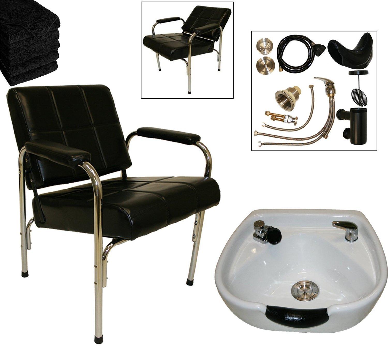 LCL Beauty Shampoo Package with Auto Reclining Shampoo Chair & Heart Shaped White Ceramic Shampoo Bowl – FREE 6 Black Absorbent Salon Quality Towels