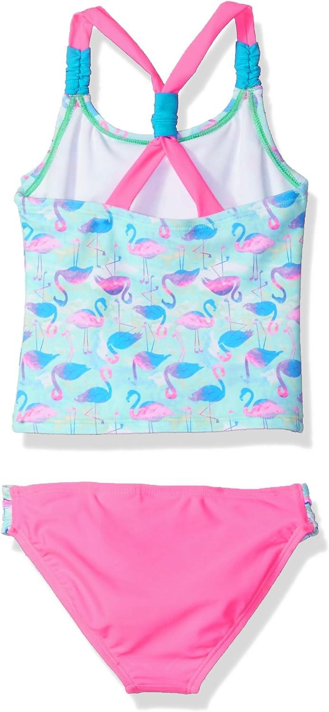 Angel Beach Girls Little Flamingo Print Flounce Tankini Swim Set