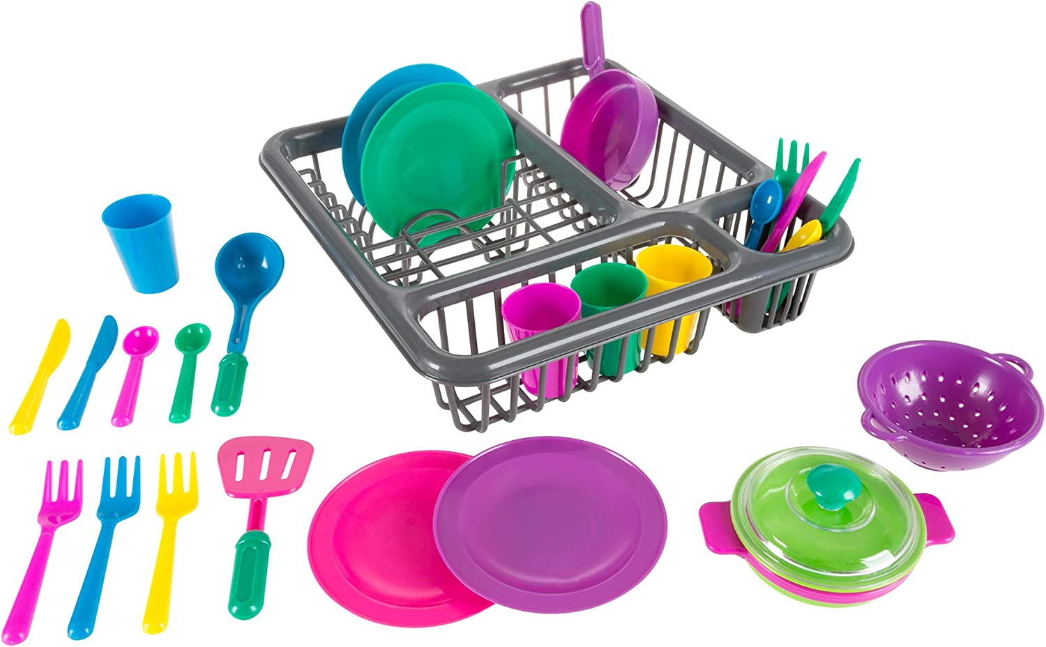 Hey! Play! Kids Play Dish Set, 27 Piece Tableware Dish Set with Dish Drainer - for Kitchen Playset and Pretend Food, Toys