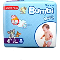 Sanita Bambi Baby Diapers Value Pack Size 4+, Large plus, 10-18 KG, 33 Count