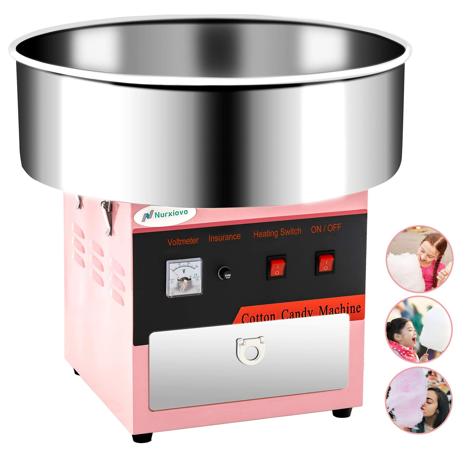 Cotton Candy Machine -Nurxiovo 21 Inch Electric Large Commercial Cotton Candy Maker Stainless Steel Candy Floss Maker Machine with Sugar Scoop and Big Drawer Pink for Various Parties by Nurxiovo