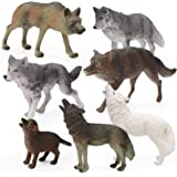 7Pcs Wolf Toy Figurines Set Wolf Animals Figures (Wolf Set A)
