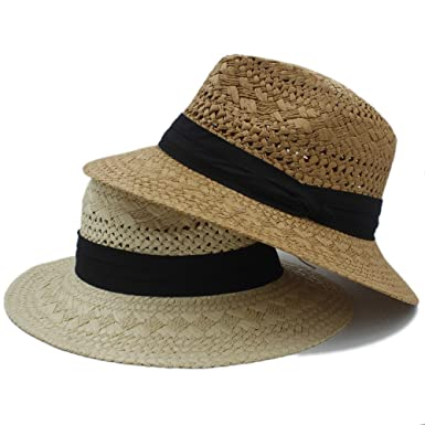 b1aa8627 Handwork Beach Hats Summer Women Men Raffia Straw Sun Hat for Elegant Lady  Wide Brim Panama