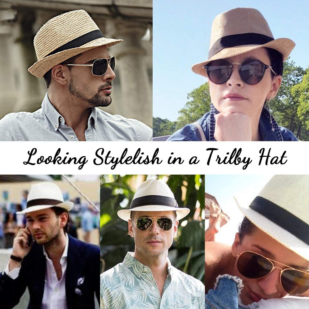 Coffee Straw Hat for Male Sun Hat Women Trilby Mens Fedora Hats Trilby Unisex