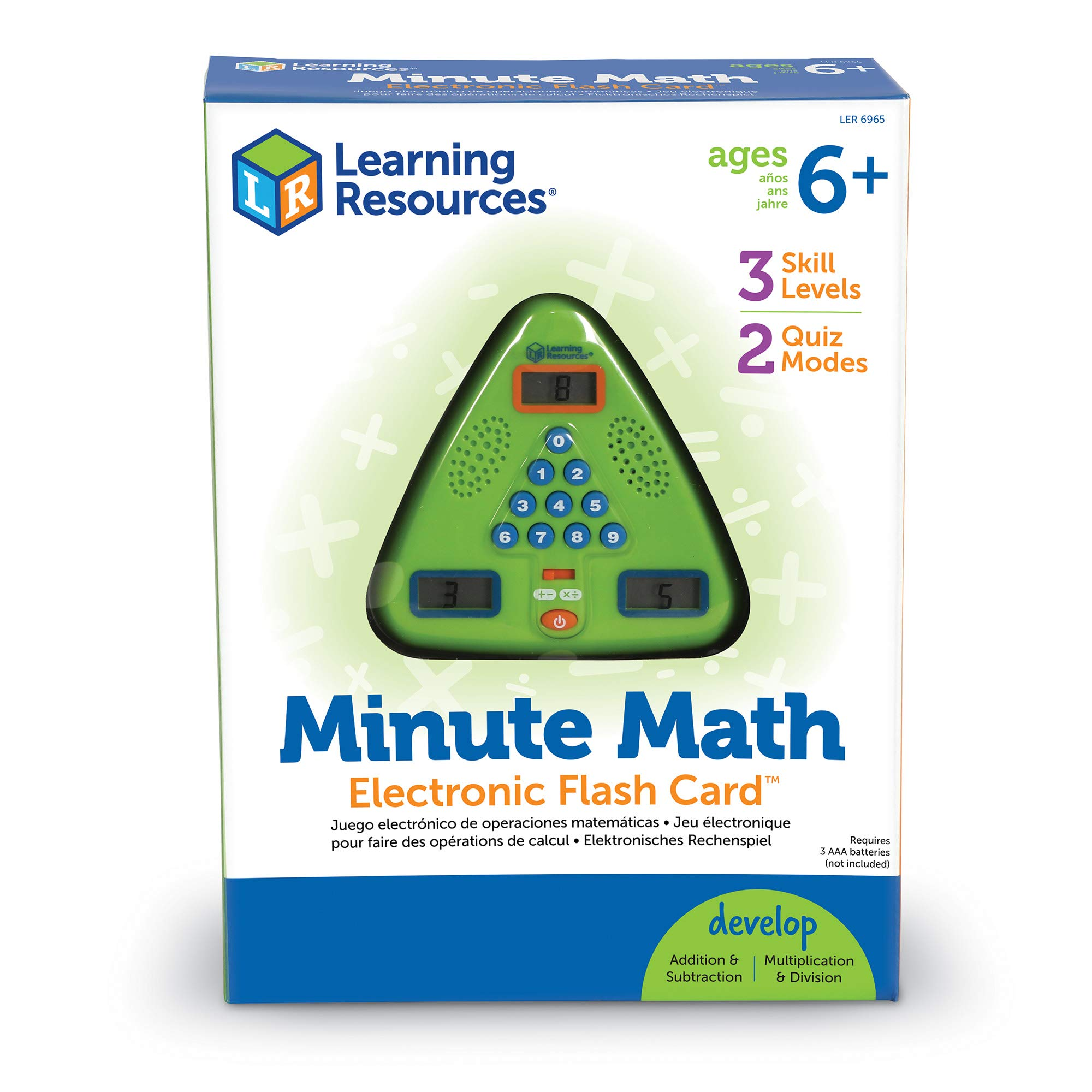 Learning Resources Minute Math Electronic Flash Card, Homeschool, Early Algebra Skills, 3 Difficulty Levels, Ages 6+