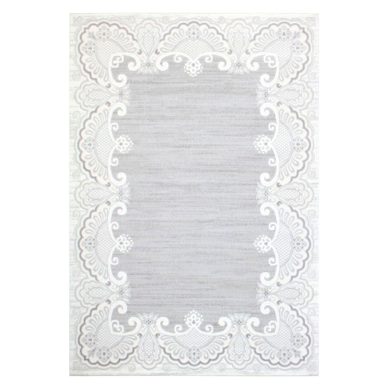 Teppich Acryl Flachflor Muster Mäander Bordüre Floral Ornament Klassisch Grau Größe 200 290 cm