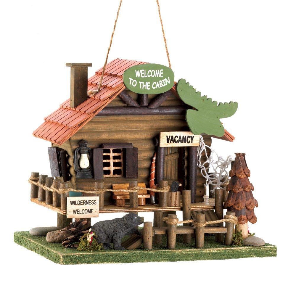 Koehler Home Decor 15281 10.25 Woodland Cabin Birdhouse Outdoor Decor Smart Living SLC-15281