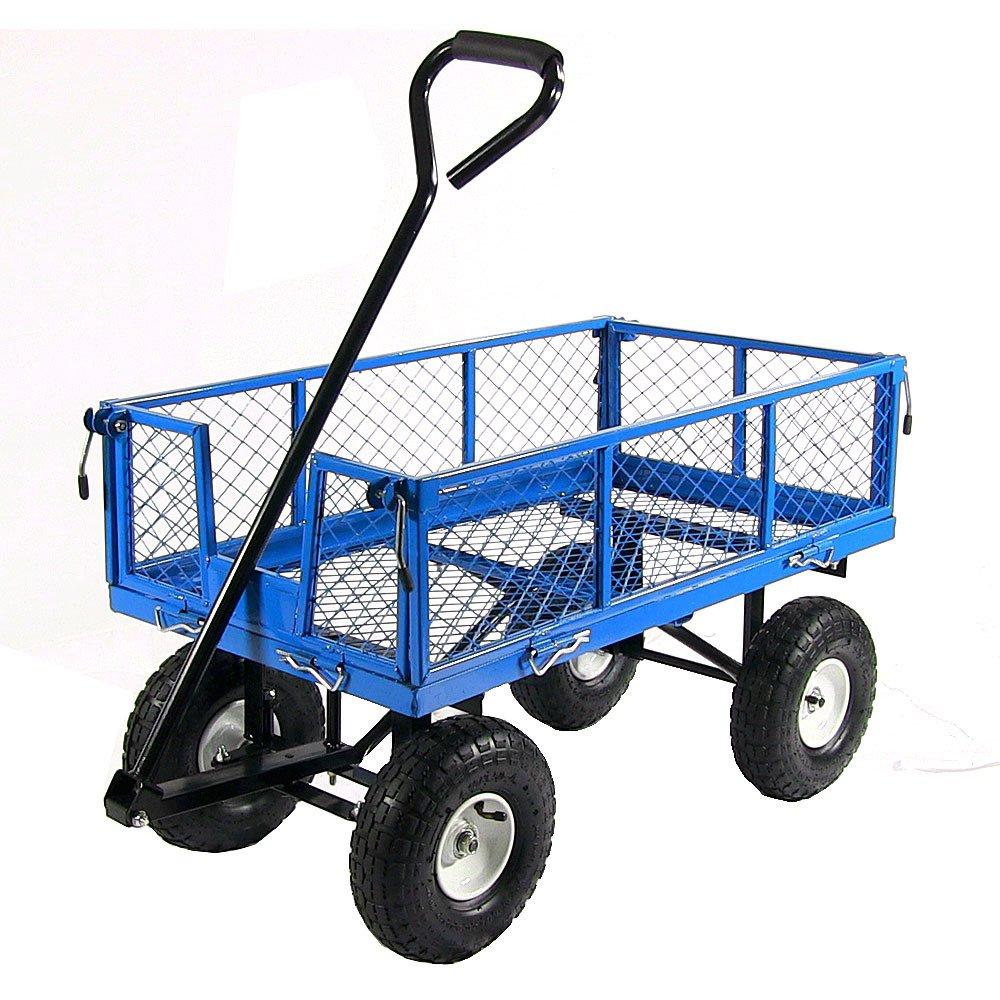 Sunnydaze Garden Cart, Heavy Duty Collapsible Utility Wagon, 400 Pound Capacity, Blue