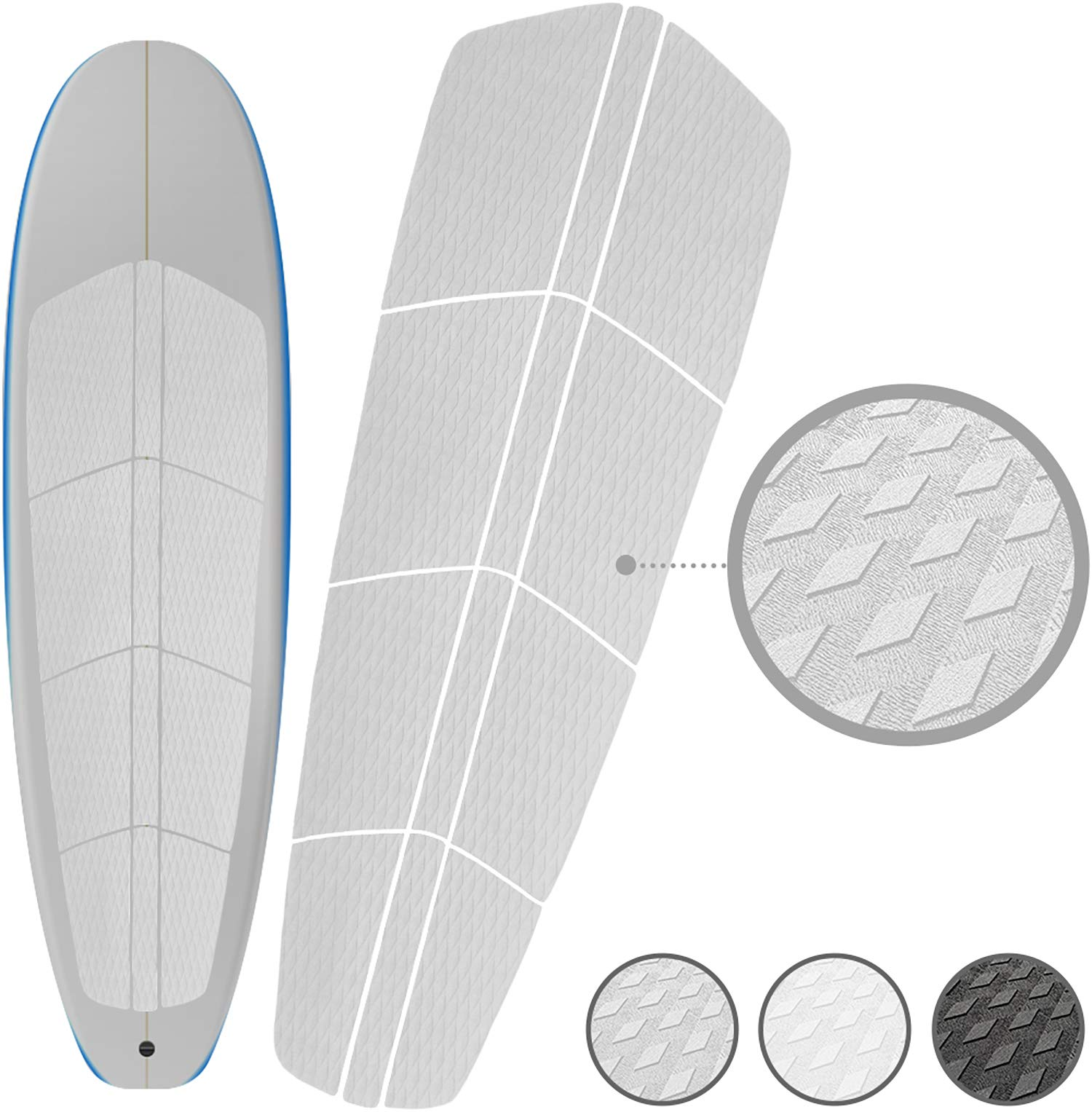 Punt Surf Paddle Board SUP Traction Pad with 3M Adhesive - 12 Piece Customizable Deck Grip for Any Size Paddleboard