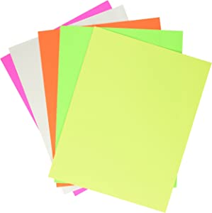 School Smart Poster Board, 11 x 14 Inches, White/Assorted Neon Color, Pack of 50 - 1371700