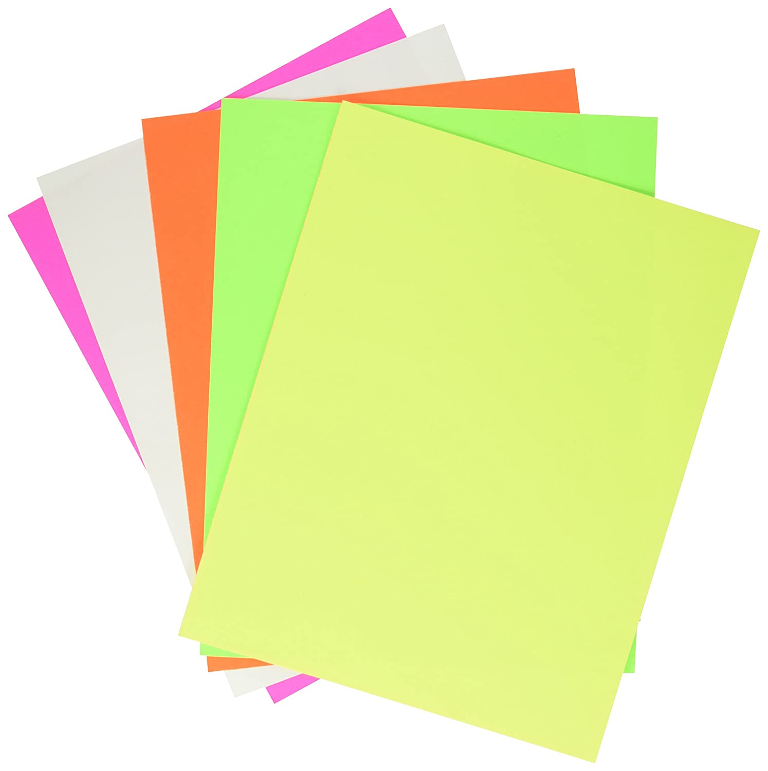 School Smart 1371700 Poster Board - 11 x 14 - Pack of 50 - Assorted Neon Colors School Specialty