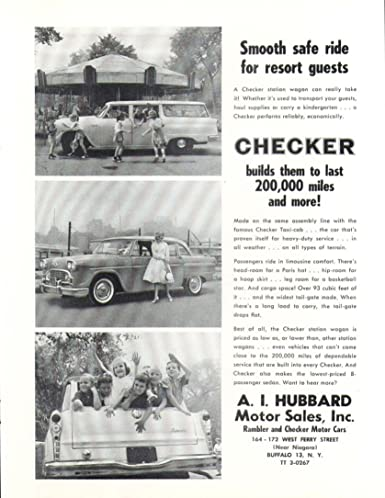 Amazon com: Checker Smooth safe ride for guests car ad 1961