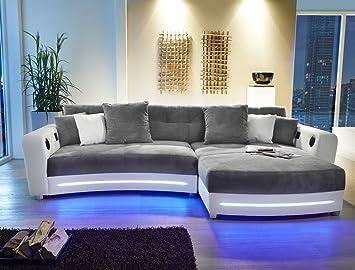 Multimedia Sofa Larenio HiFi Wohnlandschaft 322x200 Cm Grau Weiss Couch Mikrofaser Hi Fi LED Beleuchtung Wohnzimmer
