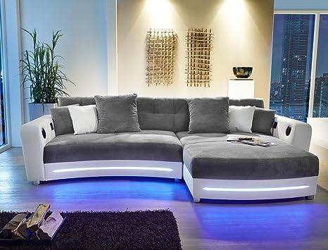 expendio Multimedia Sofa Larenio HiFi Wohnlandschaft 322x200 cm grau weiß  Couch Mikrofaser Hi Fi LED Beleuchtung Wohnzimmer