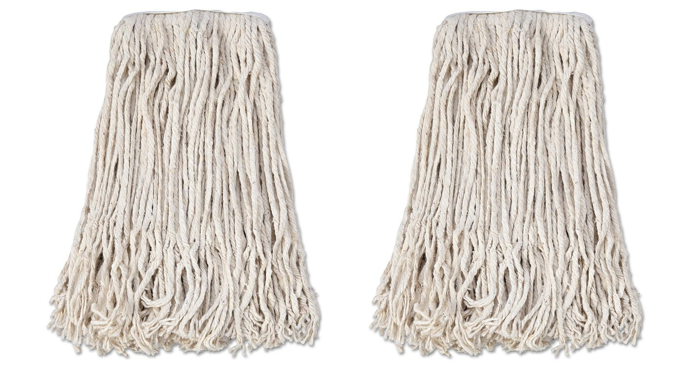 Boardwalk CM02024S Mop Head, Cotton, Cut-End, White, 4-Ply, #24 Band (Case of 12) (2 PACK)