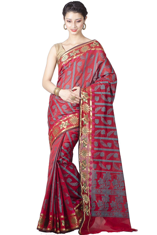 Chandrakala Women's Cotton Silk Banarasi Saree Free Size Red