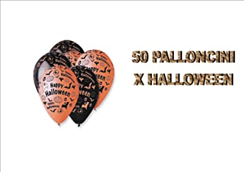 50 PALLONCINI in lattice Halloween Neri Arancio e Viola addobbi feste 83469d08d2cc