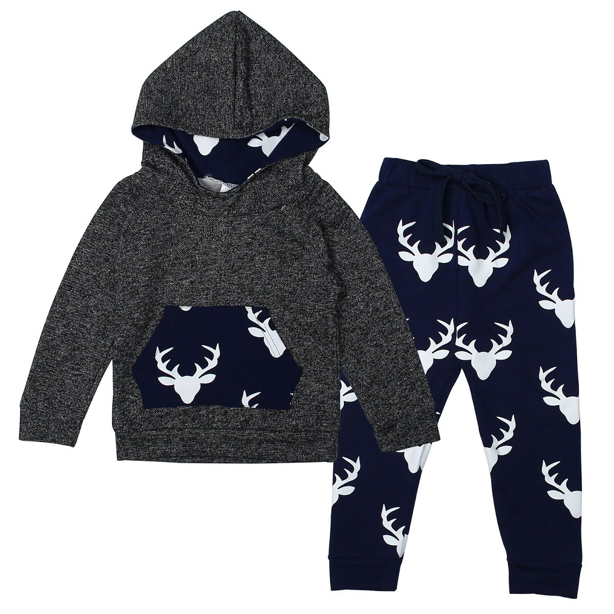 Evaliana Baby Boys Kids Toddlers Infants Antler Hoodies Pants Outfits Track Suit