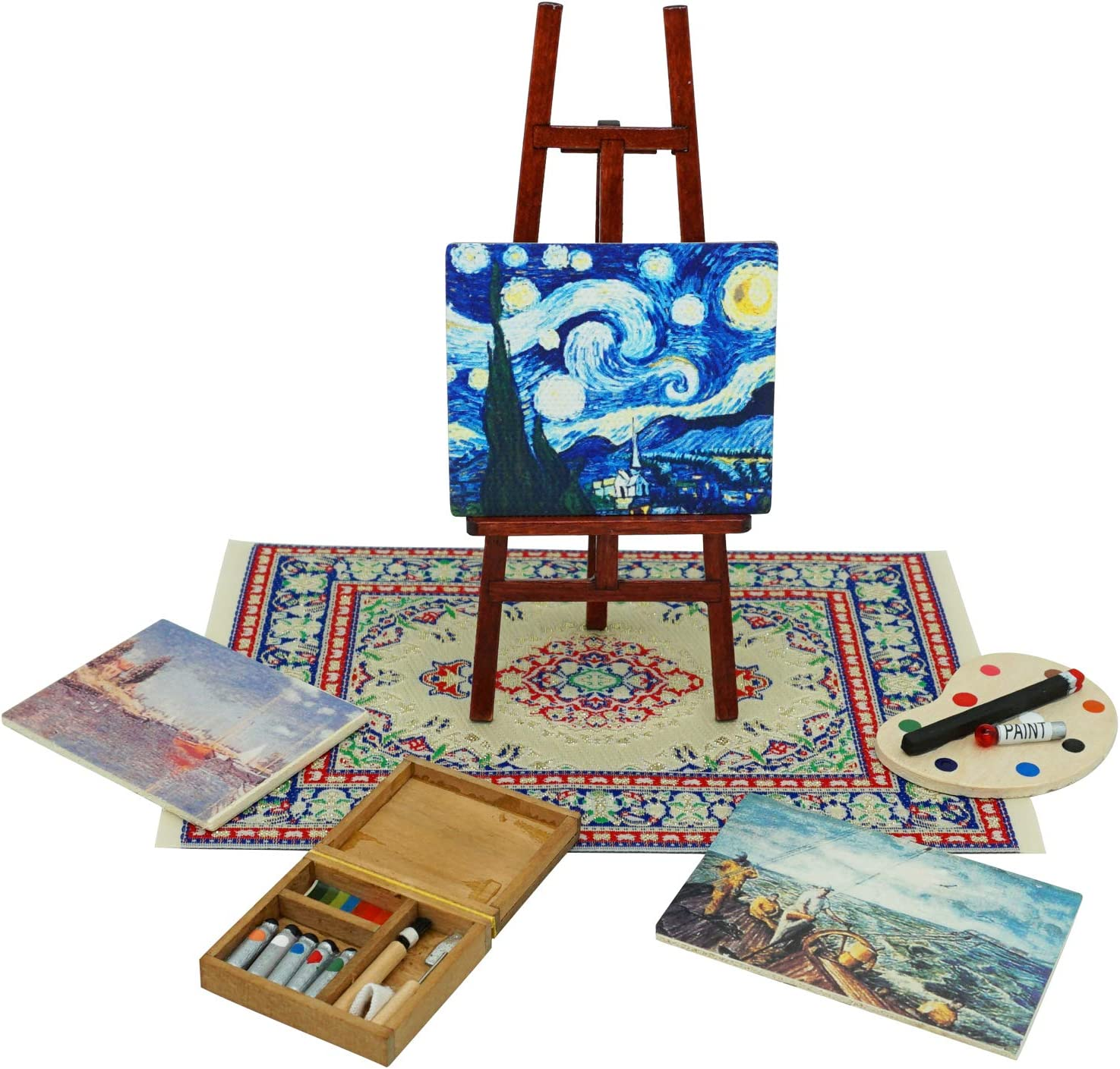 SAMCAMI Wooden Dollhouse Furniture and Accessories - Easel Oil Painting Set (7 PCS) for 1 12 Scale Miniature Dollhouse (Blown)