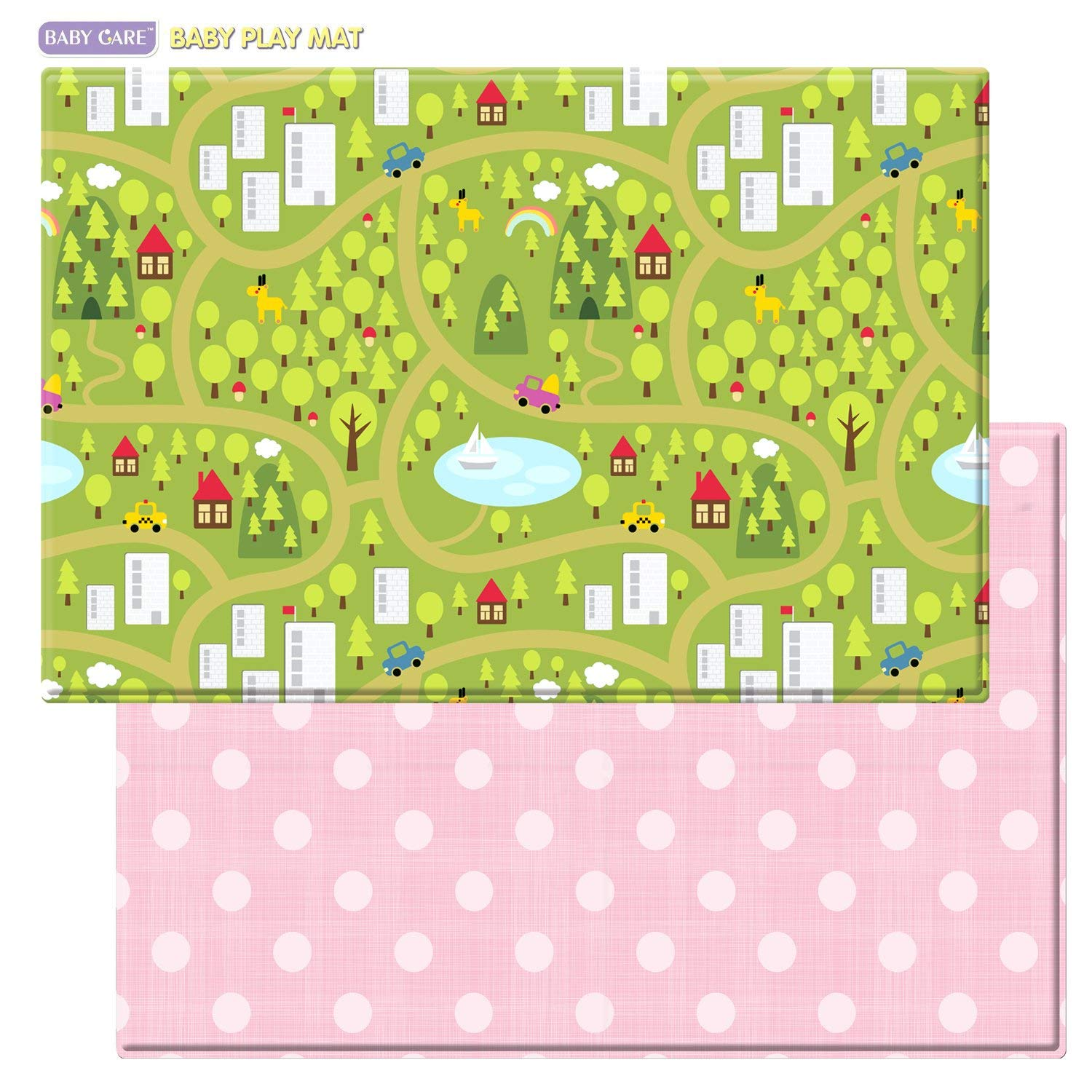 Baby Care Play Mat - Playful Collection (Country Town - Pink, Large) - Play Mat for Infants – Non-Toxic Baby Rug – Cushioned Baby Mat Waterproof Playmat – Reversible Double-Sided Kindergarten Mat
