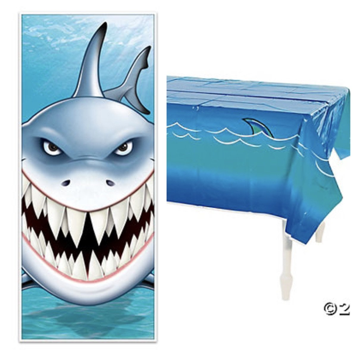 "Just4fun Awesome Shark Party Decorations - 6' Door Cover Banner & 54"" X 108"" Plastic Tablecloth - Shark Decor Parties Week Tank Ocean Life"