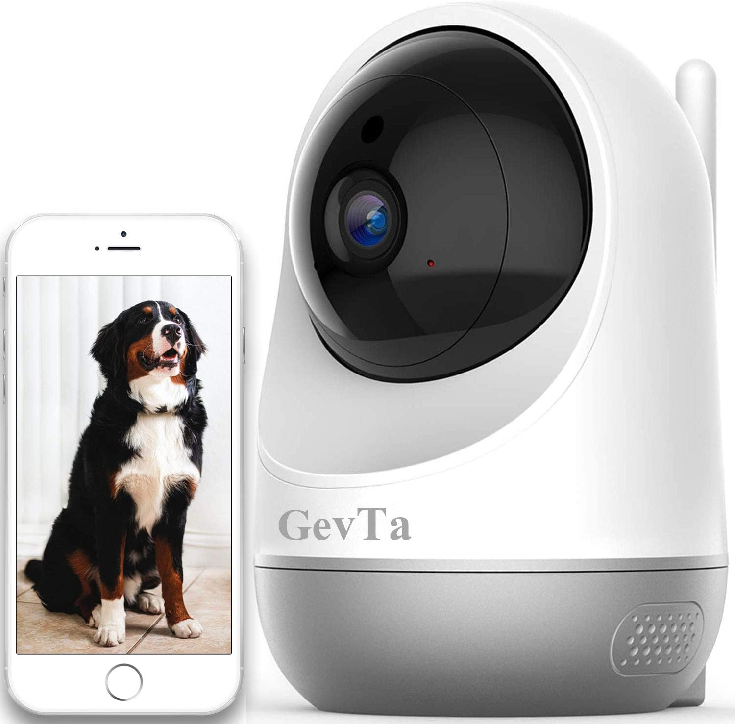 GevTa Pet Camera FHD Dog Camera WiFi Pet Monitor Indoor Cat Camera Night Vision 2 Way Audio and Motion Detection