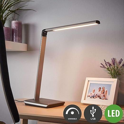LED Lámpara de mesa Kuno con estación de carga USB (Moderno) en ...