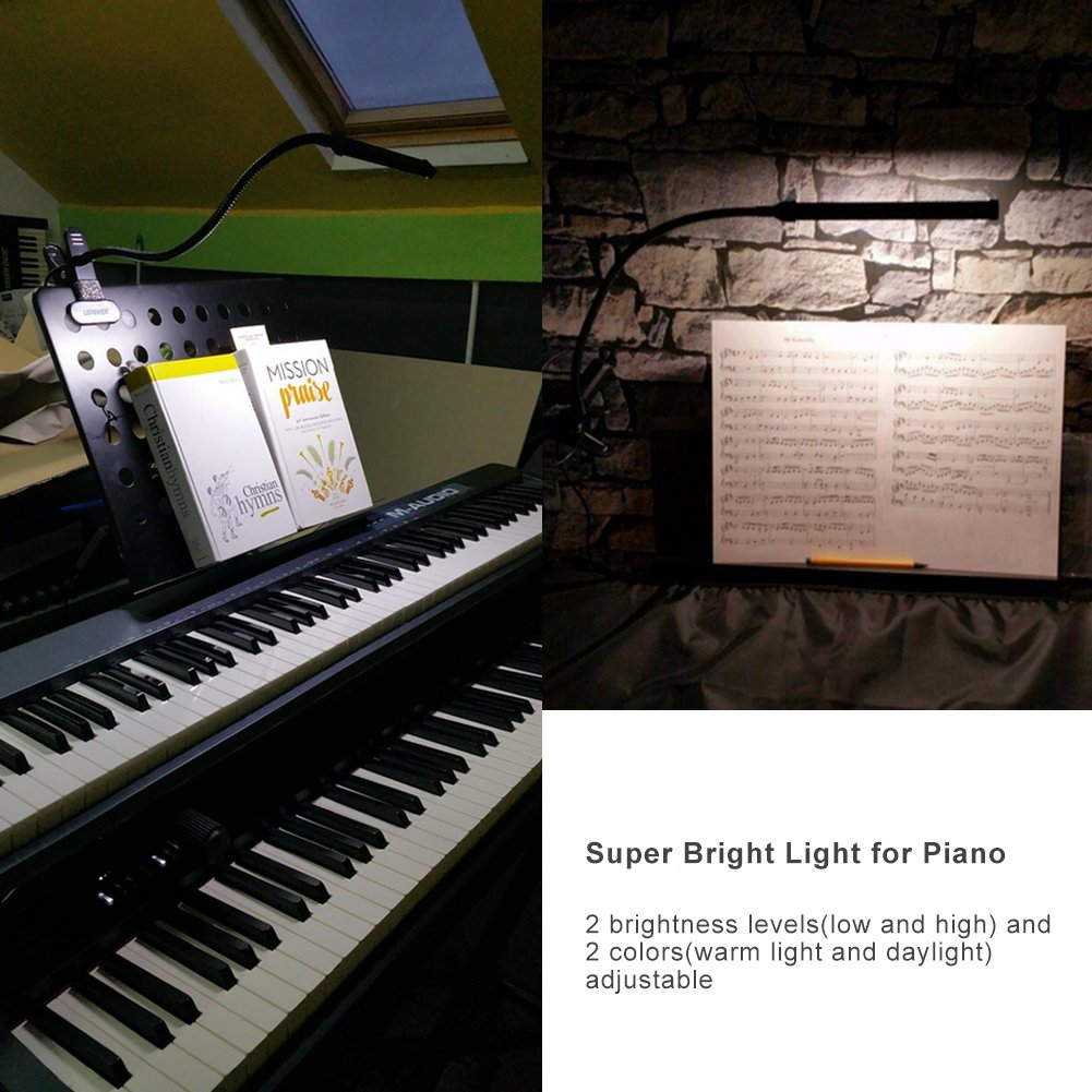 LEPOWER Led Clip on Light/Reading Light with Gooseneck 5W Piano Light Color Temperature Changeable Clip Light (Metal)