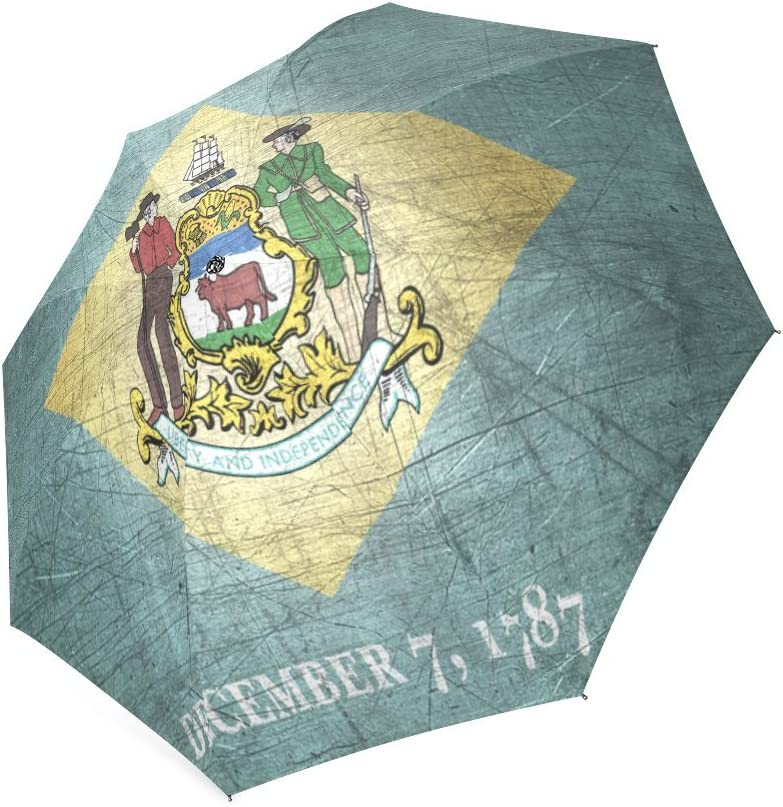 Friends Novelty Birthday Gifts Presents Custom Delaware State Flag Compact Foldable Rainproof Windproof Travel Umbrella