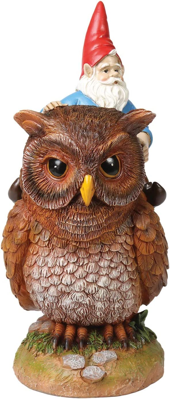 "WHAT ON EARTH Owl Riding Garden Gnome Statue, Lawn Ornament Sculpture 9.5"" H"