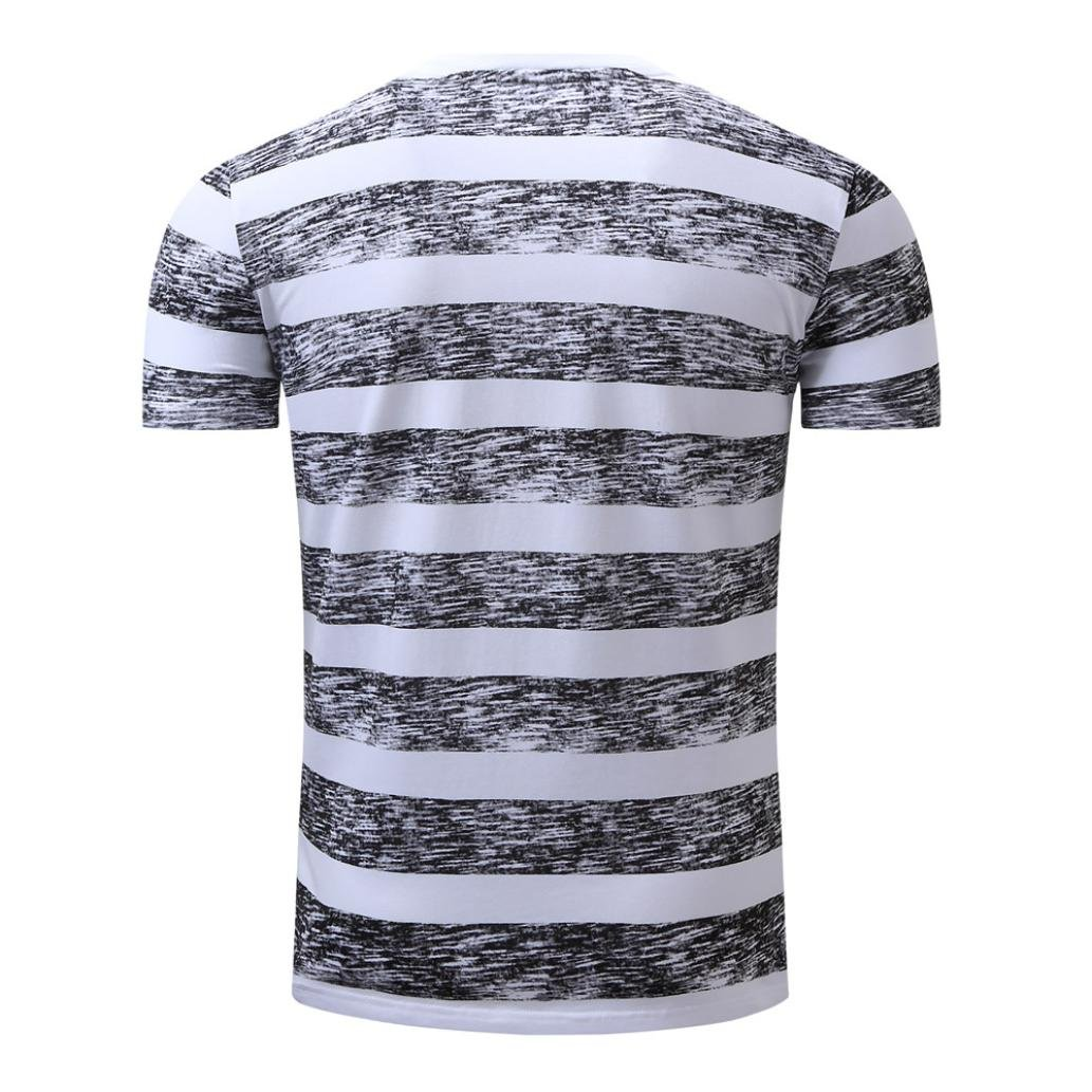 Sagton Blouse for Mens,Mens Striping Casual Button Letter Pullover Short Sleeve T-Shirt Top