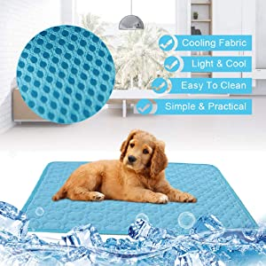 Dog Self Cooling Mat Pet Washable Summer Cooling Pads Cooling Blanket Hot Weather Sleeping Kennel Mat,Ice Silk Sleep Mat Pad Non-Toxic Breathable Sleep Bed Beach for Large Dogs Cats Animal No Water