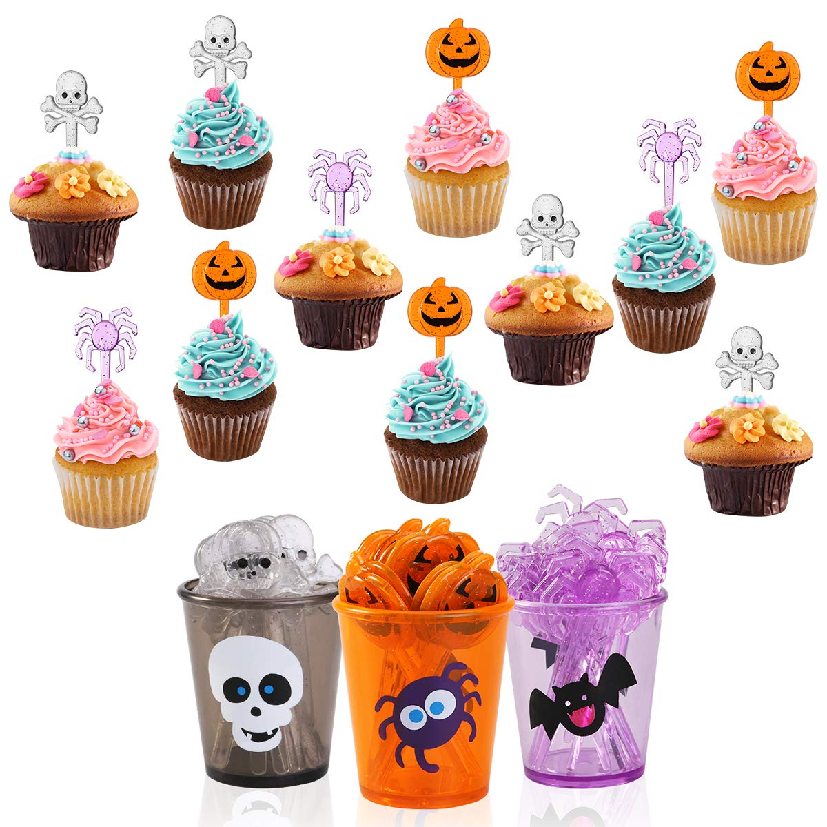 PBPBOX Food Picks Set Cupcake Topper Decorative (72 Picks + 6 Cups) Party Supplies and Decorations
