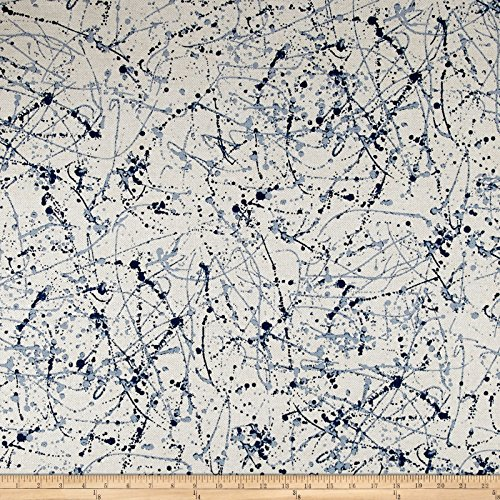 - Premier Prints Splatter Art Flax Basketweave Prussian Blue