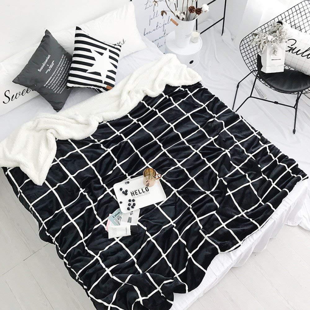 Mabmeiyang 二重ラムスキンの厚さの冬の厚さのサンゴフリースのキルトの毛布 (Color : Fashion black grid, サイズ : 200cmx230cm) B07RJJJVQ7 Fashion black grid 200cmx230cm