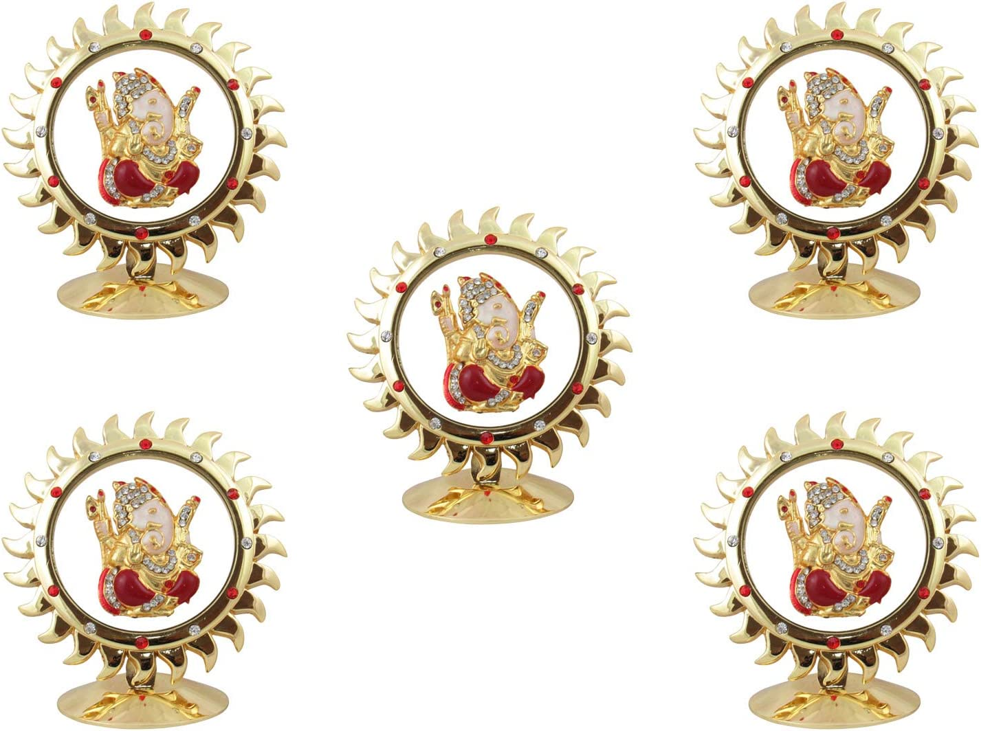 GoldGiftIdeas Sun Shape Siddhi Vinayak Ganesha for Car Dashboard (Medium), Idol for Table Decor, Return Gift for Housewarming and Baby Shower, Hindu Religious God Idol (Pack of 5)