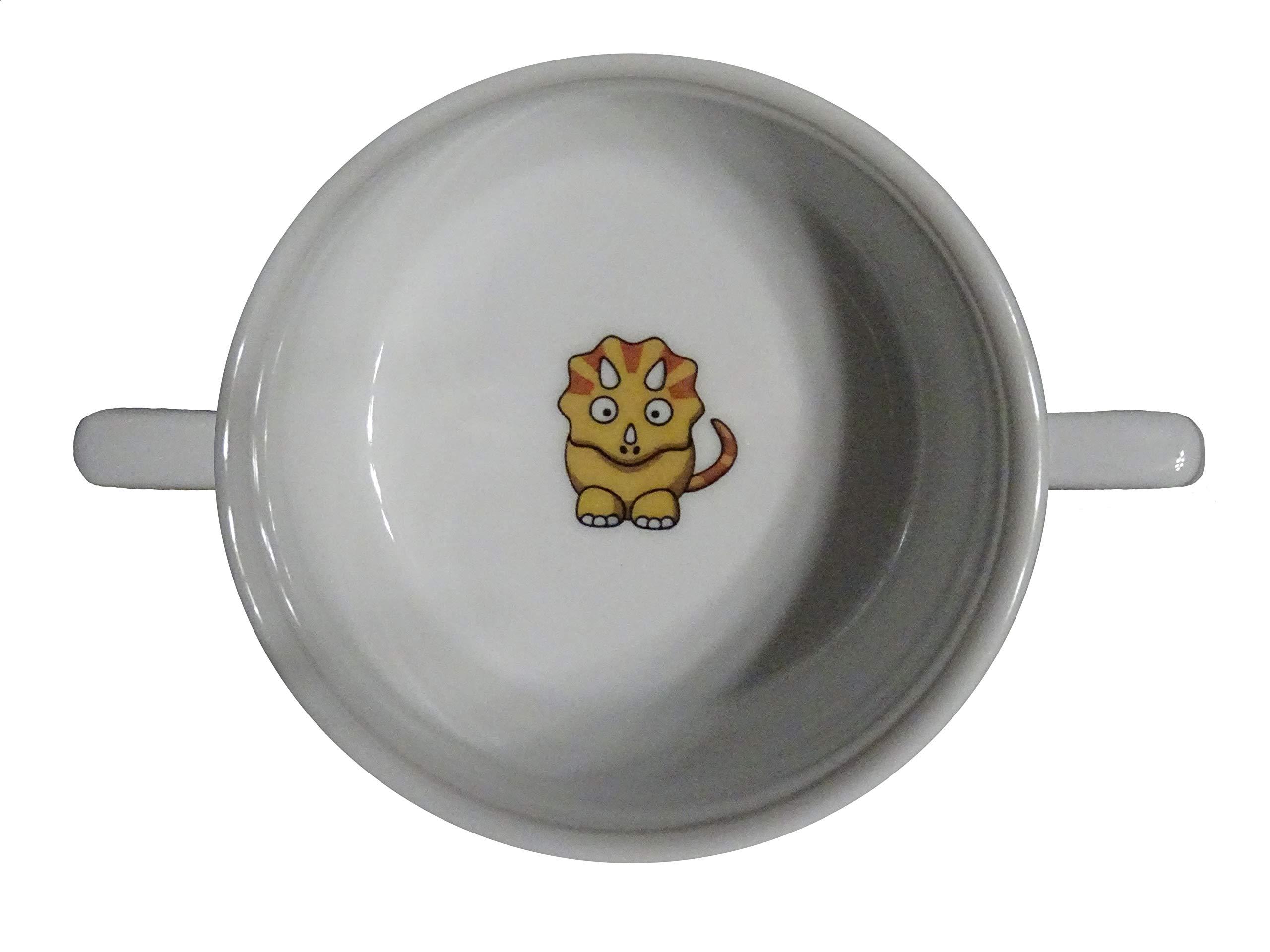 Soup Bowl 7, 1 pcs, Dinosaur Soup Bowl Small Baby Child Kids, Bottom, Hidden Message, Secret Message, Cartoon, Cute Animals, Cute Animals, Dinosaur, Good Cartoon Drawings, Triceratops, Porcelain