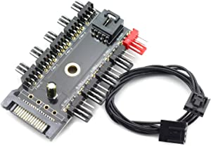 ZRM&E 4Pin 12V PWM Fan Hub Speed Controller SATA 1 to 10 Way PC Cooling Fan PCB Adapter CPU Cooler Power Splitter Socket With PWM Connection Cable