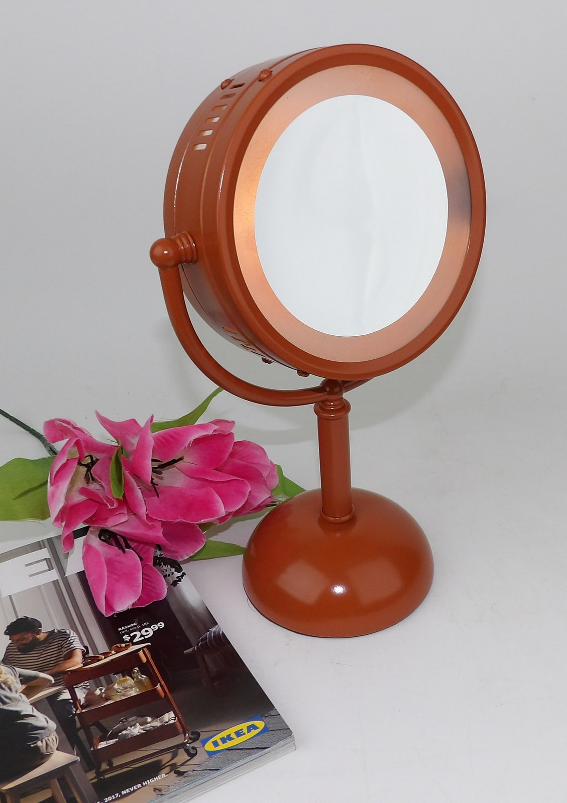 Vanity Makeup Mirror Lighted Bathroom Bath Brown by Making Mid Century Mod