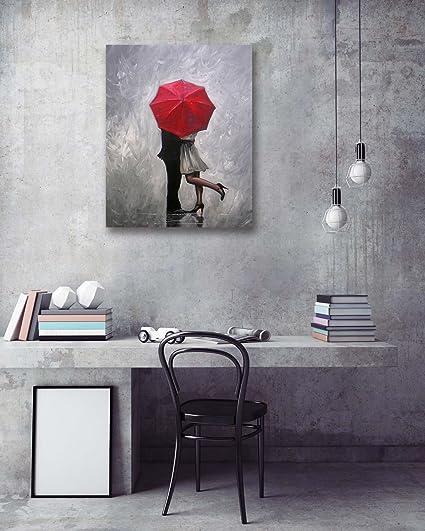 LB Amor,pareja joven,paraguas rojo_Impresión de imágenes en lienzo Decoración del hogar,