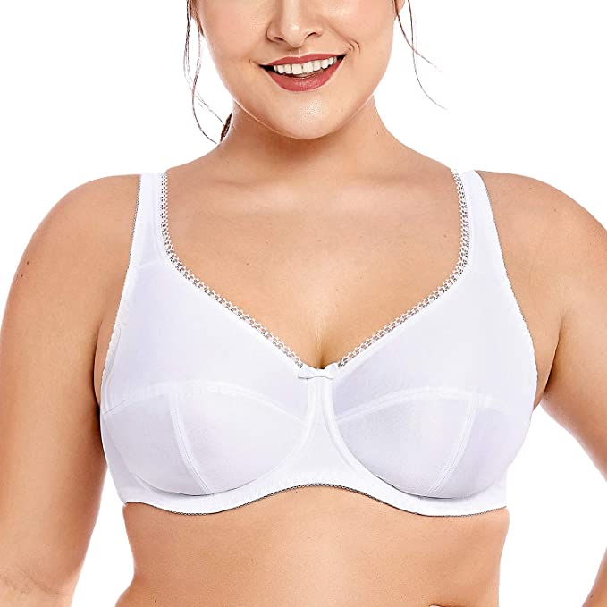 0e928a5ba7979 DELIMIRA Women s Plus Size Non Padded Firm Support Control Underwired Bra  White 34DD