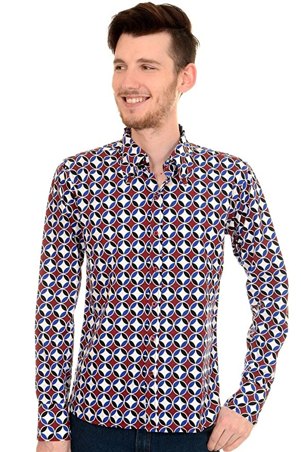 Men's Vintage Style Shirts Mens Run & Fly 60s Retro Mod Op Art Psychedelic Circle Shirt $45.95 AT vintagedancer.com