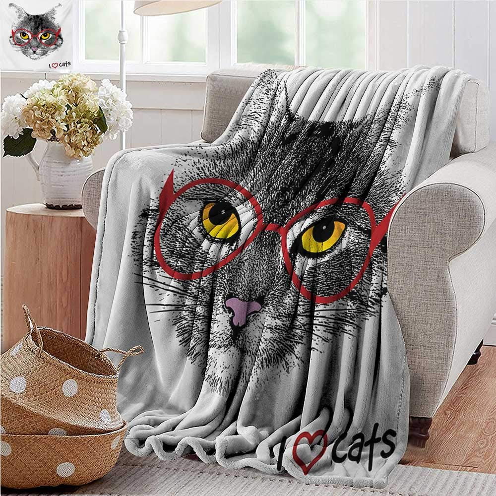 XavieraDoherty Baby Blanket,Cat,Playful Baby Kitten with Ball of Yarn Furry Animal Domestic Feline Kids Pets Artwork,Grey Blue,Super Soft Light Weight Cozy Warm Plush Hypoallergenic Blanket 60x70