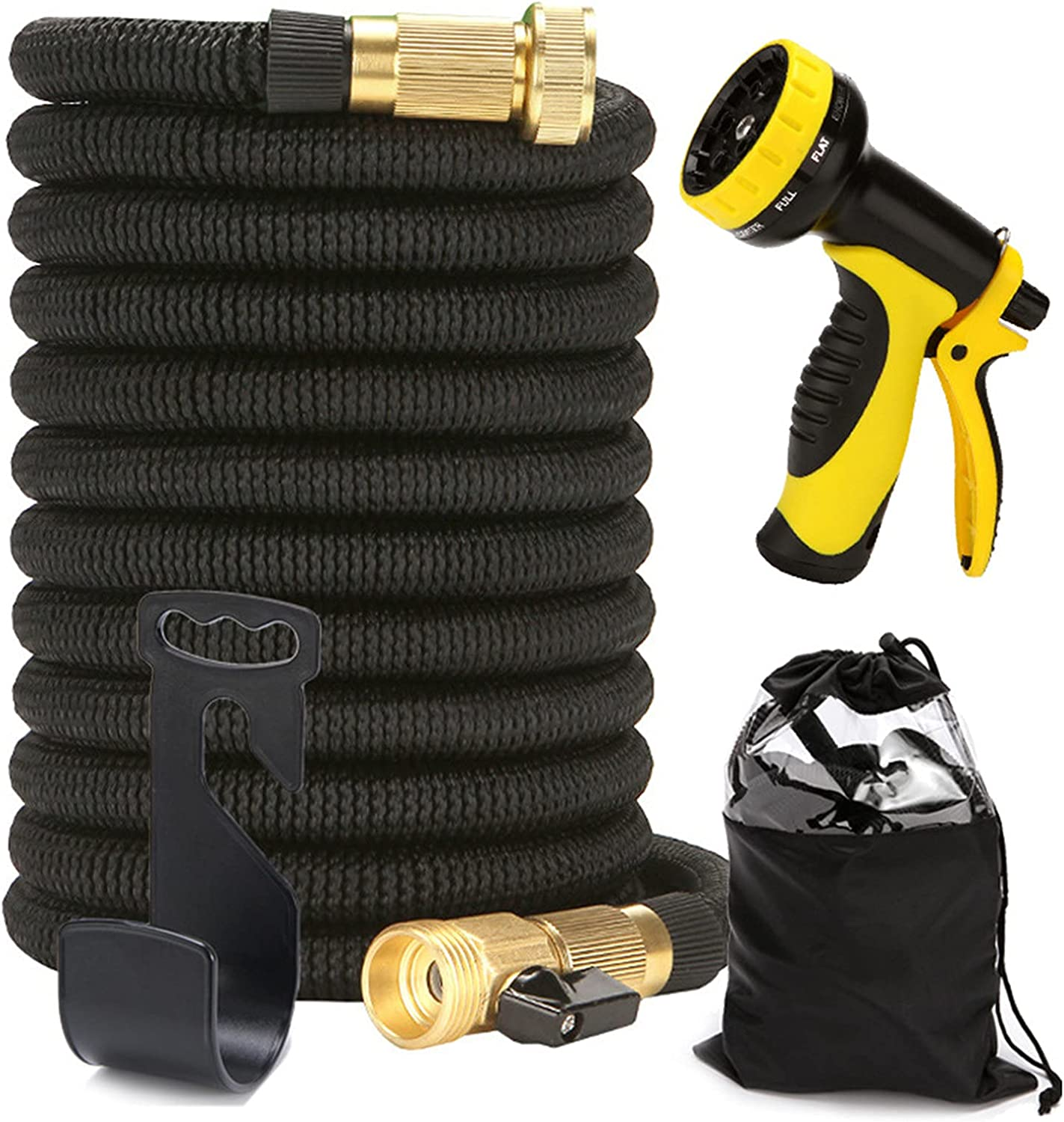 Garden Hose,Expandable Garden Hose 100ft Water Hose with 10 Function Nozzle and Durable 3-Layers Latex,Leakproof Design,Water Hose with Solid Fittings,High Pressure Pistol Grip Sprayer (100FT)