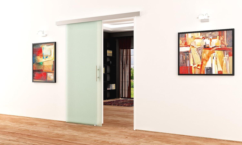 900 x 2050 mm Glasschiebet/ür alles Made in Germany LEVIDOR/® Schiebet/ür aus Glas komplett mit Laufschiene /& Stangengriff /& Glas Ellipsen-Design-Frankfurt - F - LEVIDOR /® BASIC Beschlag