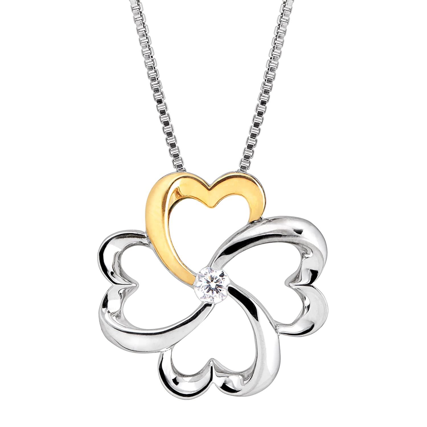 1/10 ct Diamond Clover Pendant Necklace in Sterling Silver & 14K Gold