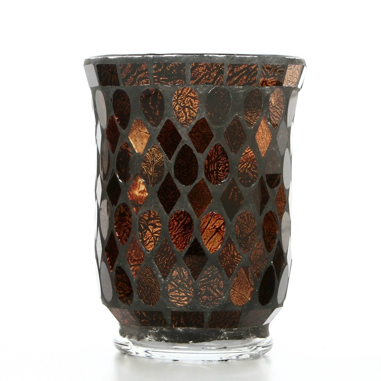 Hosley Mosaic Glass Hurricane Candle Holder- 5'' High. Wonderful Accent Piece for Coffee or Side Tables. Ideal Gift for Weddings, Home, Events P2