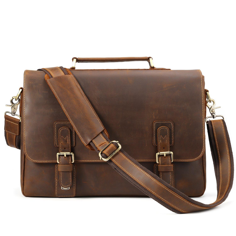 Kattee Men's Crazy Horse Leather Satchel Briefcase, 14'' Laptop Tote Bag by Kattee (Image #2)
