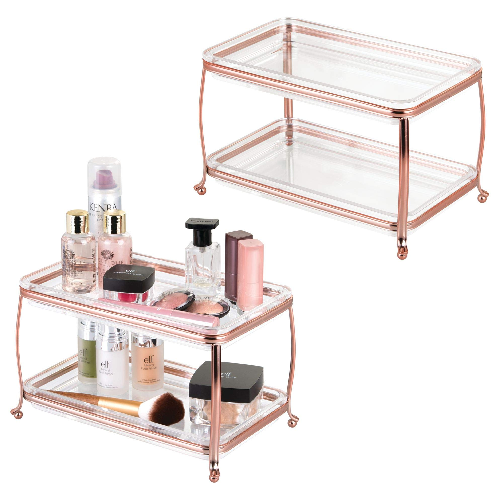 mDesign Decorative Makeup Storage Organizer Vanity Tray for Bathroom Counter Tops, 2 Levels to Hold Makeup Brushes, Eyeshadow Palettes, Lipstick, Perfume and Jewelry - Pack of 2, Rose Gold/Clear