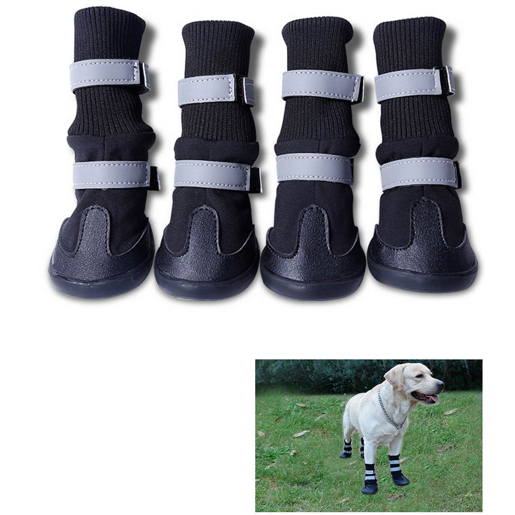 Black 4 Black Black 4 BERTERI Dog Shoes Booties Waterrepous Anti -Slip Paw Protectors Suit for eve Weather Winter Summer Fall Red Blue Black